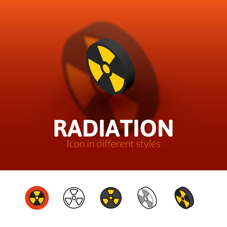 plutonium: Radiation color icon, vector symbol in flat, outline and isometric style isolated on blur background