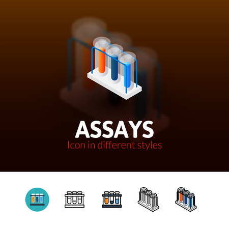 assays: Assays color icon, vector symbol in flat, outline and isometric style isolated on blur background Illustration