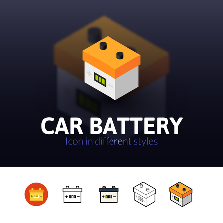 12v: Car battery color icon, vector symbol in flat, outline and isometric style isolated on blur background