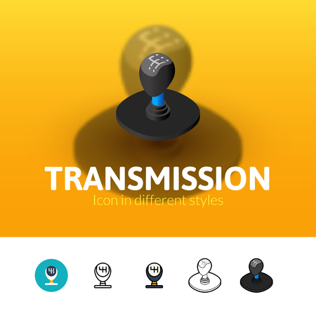 Transmission color icon, vector symbol in flat, outline and isometric style isolated on blur background