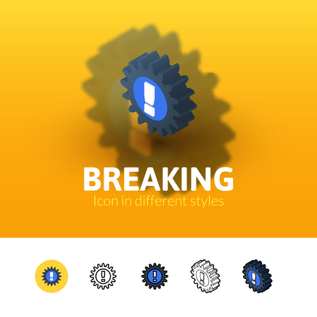 breaking color icon, vector symbol in flat, outline and isometric style isolated on blur background Illustration