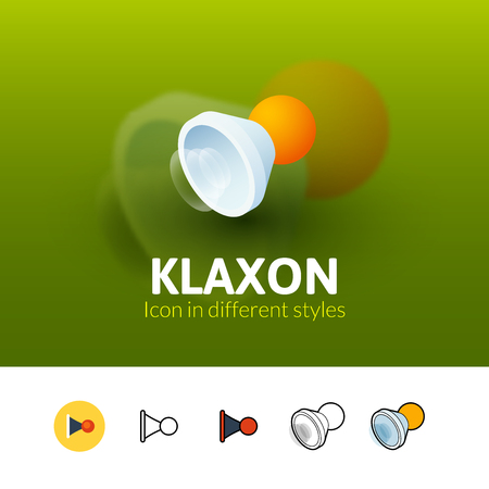 Klaxon color icon, vector symbol in flat, outline and isometric style isolated on blur background