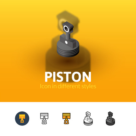 fuel rod: Piston color icon, vector symbol in flat, outline and isometric style isolated on blur background