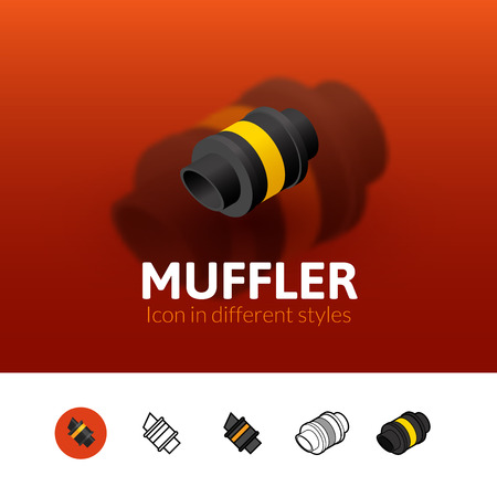 tailpipe: Muffler color icon, vector symbol in flat, outline and isometric style isolated on blur background