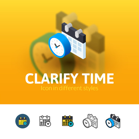 clarify: Clarify time color icon, vector symbol in flat, outline and isometric style isolated on blur background