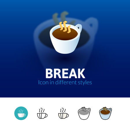 break in: Break color icon, vector symbol in flat, outline and isometric style isolated on blur background Illustration