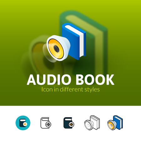 audio book: Audio book color icon, vector symbol in flat, outline and isometric style isolated on blur background