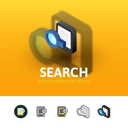 Search color icon, vector symbol in flat, outline and isometric style isolated on blur background