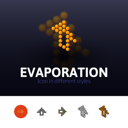 evaporation: Evaporation color icon, vector symbol in flat, outline and isometric style isolated on blur background Illustration