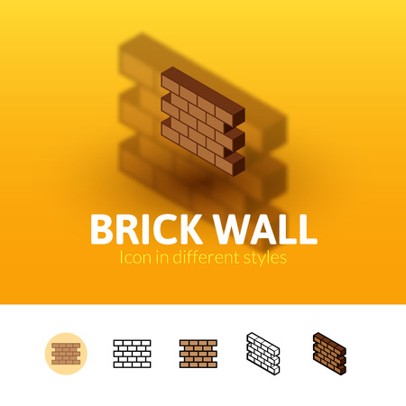 construction materials: Brick wall color icon, vector symbol in flat, outline and isometric style isolated on blur background