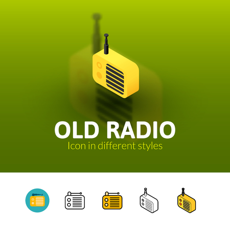 old radio: Old radio color icon, vector symbol in flat, outline and isometric style isolated on blur background