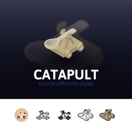 catapult: Catapult color icon, vector symbol in flat, outline and isometric style isolated on blur background
