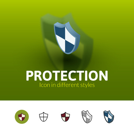 rivets: Protection color icon, vector symbol in flat, outline and isometric style isolated on blur background