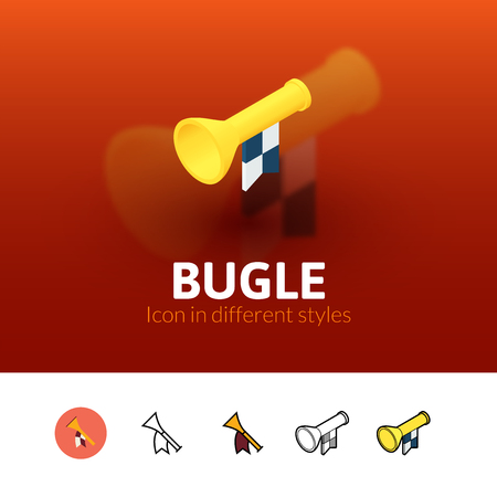 Bugle color icon, vector symbol in flat, outline and isometric style isolated on blur background Illustration