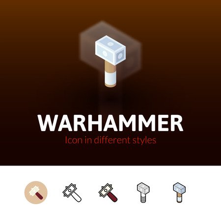 Warhammer color icon, vector symbol in flat, outline and isometric style isolated on blur background Illustration