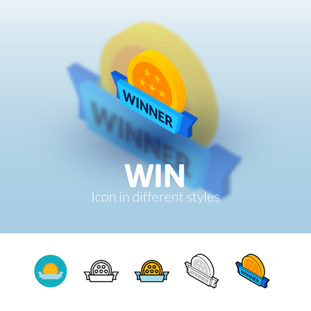 Win color icon, vector symbol in flat, outline and isometric style isolated on blur background