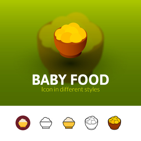 Baby food color icon, vector symbol in flat, outline and isometric style isolated on blur background
