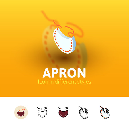 fleecy: Apron color icon, vector symbol in flat, outline and isometric style isolated on blur background