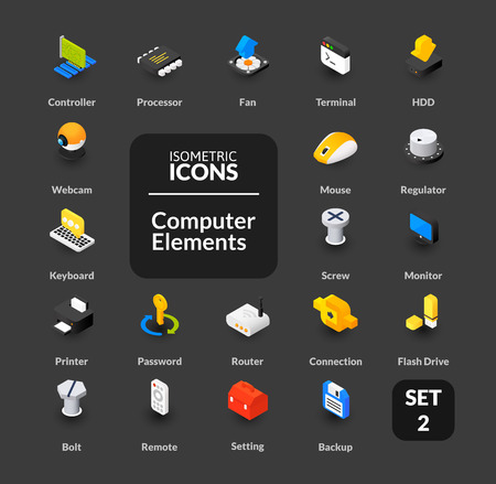 Color icons set in flat isometric illustration style, symbols - Computer collection