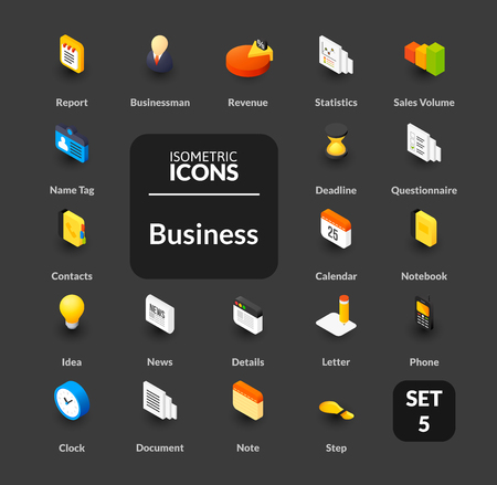 Color icons set in flat isometric illustration style, symbols - Business collection