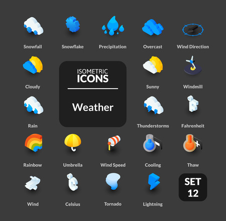 thaw: Color icons set in flat isometric illustration style, symbols - Weather collection