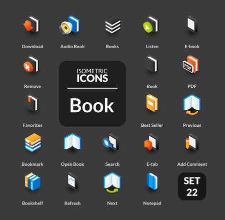 magazine stack: Color icons set in flat isometric illustration style, symbols - Book collection Illustration