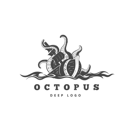 sea monster: evil kraken absorbs commercial sailing ship, silhouette octopus sea monster with tentacles for and t-shirt print or seafood mascot label, ocean life concept, simple detailed black illustration