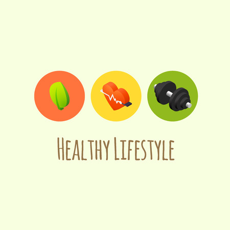 Healthy lifestyle icons - cardio fitness, fresh eating and strenght exercises illustration Illustration