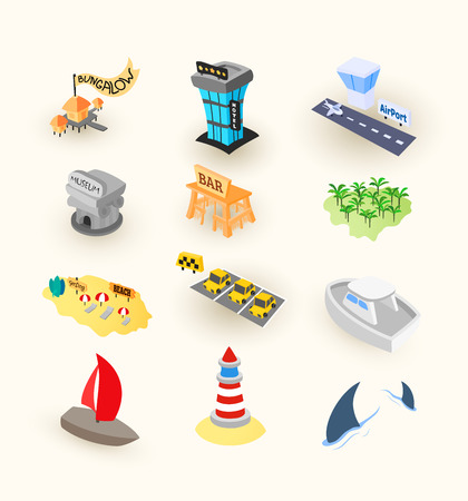 Vacation travel icons set, included airport, taxi and museum, tropical island beach with palm tree, hotel or bungalow, illustration
