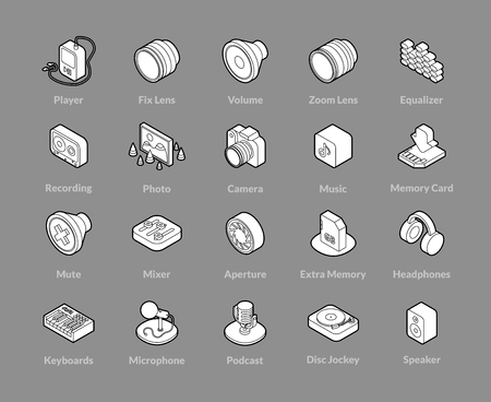 Isometric outline icons, 3D pictograms vector set - Photo music and device symbol collection