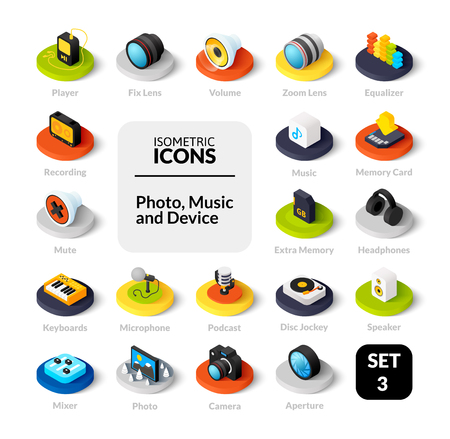 Color icons set in flat isometric illustration style, vector collection 版權商用圖片 - 95736623