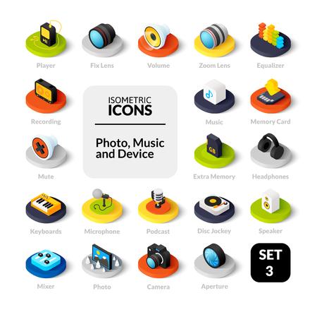 Iconos de colores en estilo de ilustración isométrica plana, colección de vectores