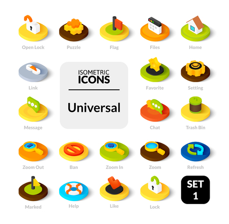 Color icons set in flat isometric illustration style, vector symbols - Universal collection Illustration