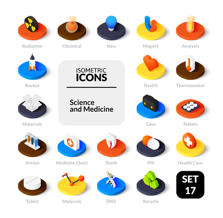 Color icons set in flat isometric illustration style, vector collection