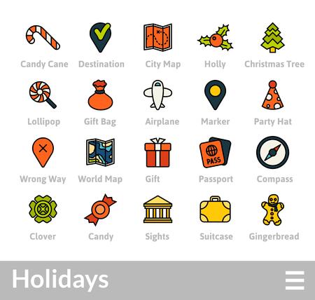 Décrire les icônes design plat mince, style de trait de ligne moderne, élément de conception web et mobile, objets et ensemble d'icônes illustration vectorielle - collection de vacances Banque d'images - 95664055
