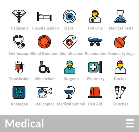 Outline icons thin flat design, modern line stroke style, web and mobile design element, objects and vector illustration icons set - medical collection