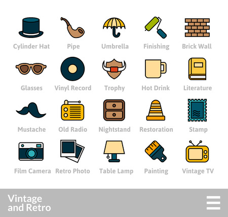 Outline icons thin flat design, modern line stroke style, web and mobile design element, objects and vector illustration icons set- vintage collection