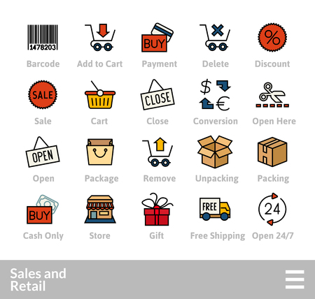 Outline icons thin flat design, modern line stroke style, web and mobile design element, objects and vector illustration icons set - sales and retail collection Ilustrace