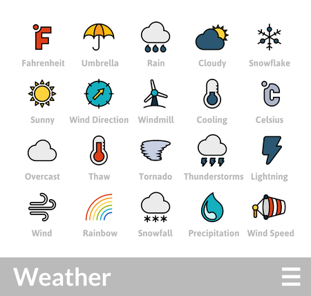 Objects and vector illustration icons set of weather collection Illustration