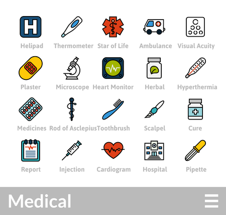 Objects and vector illustration icons set of medical collection.