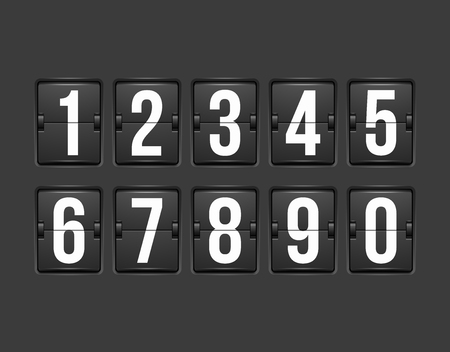Countdown timer, white color mechanical scoreboard with different numbers Stock Illustratie