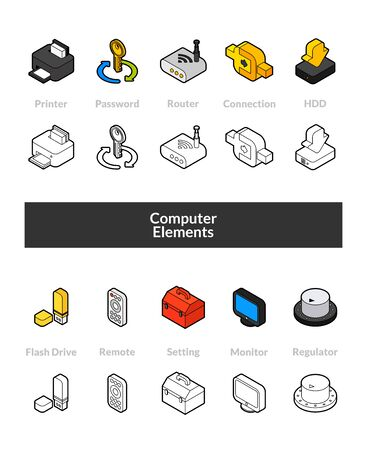Set of computer element isometric icons in outline style, colored and black versions.