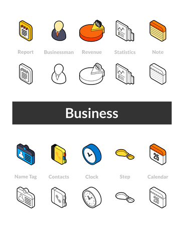 Set of business isometric icons in outline style, colored and black versions. Vettoriali