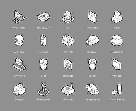 Isometric outline icons set illustration on gray background.