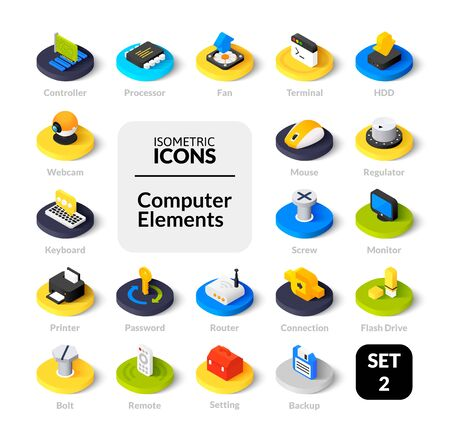 Color icons set in flat isometric illustration style, vector collection. Ilustração