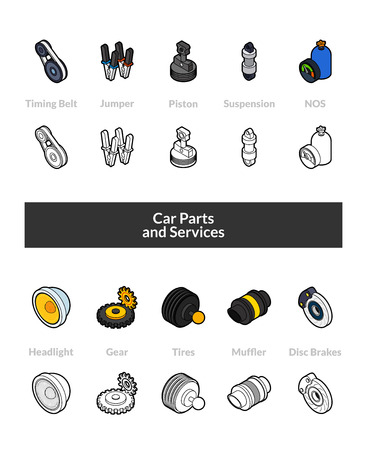 Set of isometric icons in line style, colored and black versions Vector illustration