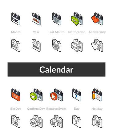 Set of isometric icons in otline style, colored and black versions