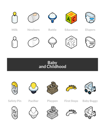 Set of isometric icons in outline style, colored and black versions Vector illustration.