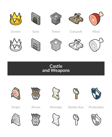 Set of isometric icons in outline style, colored and black versions, vector symbols - Castle and weapons collection Illustration