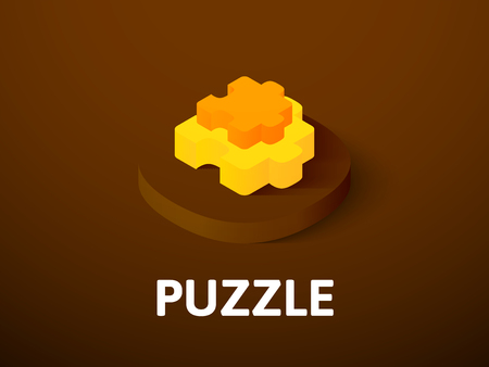 Puzzle isometric icon isolated on color background